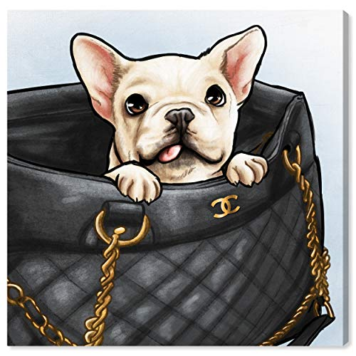 Oliver Gal 'Peek a Boo Frenchie' The Dogs and Puppies Wall Art Decor Collection Contemporary Premium Canvas Art Print