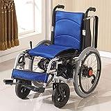 Deluxe Plegable Silla de Ruedas eléctrica Fácil de Motor Dual Inteligente Gira automáticamente para sillas de Ruedas eléctrica Ancianos Gente poderosa con discapacidad (Azul)