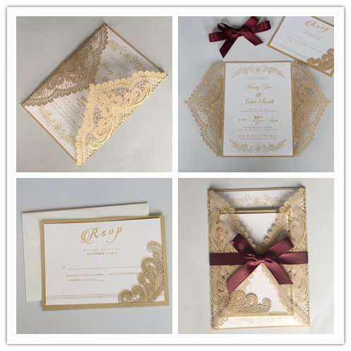 "Picky Bride Golden Lace Wedding Invitations with Burgundy Ribbon Bow and RSVP Cards 5 x 7"" Envelopes Included - Set of 50 pcs (Customized Invitations + RSVP Card)"