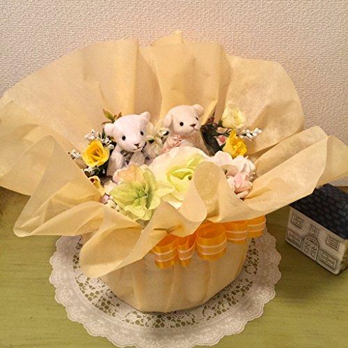 おむつケーキ1段 双子男女用 アレンジフラワー風 イエロー (パンパースMサイズ) おしゃれな出産祝い 結婚祝 人気ナンバーワン