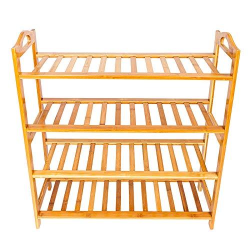 Hapeisy Zapatero de bambú de 4 niveles, organizador de almacenamiento para entrada, pasillo y armario, estante multifuncional