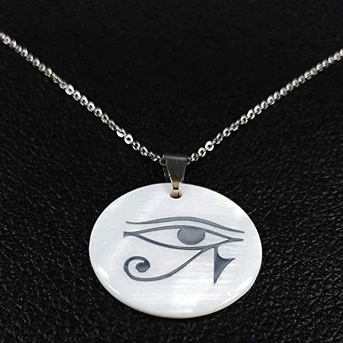 ZGYFJCH Co.,ltd Collar Moda Dios Antiguo Horus EyeSteel Seashell Collares Tercer Ojo Mandala Joyería India Collar Retro Mujeres Colgante Collar Regalo para Hombres Mujeres Niñas Niños