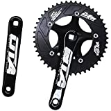 Single Speed Crankset 48T 170mm Crankarms 130 BCD Litepro Folding Bike Crankset with Protective Cover for Single Speed Bike, Track Road Bicycle, Fixed Gear, Fixie, Dahon (Square Taper, Black)