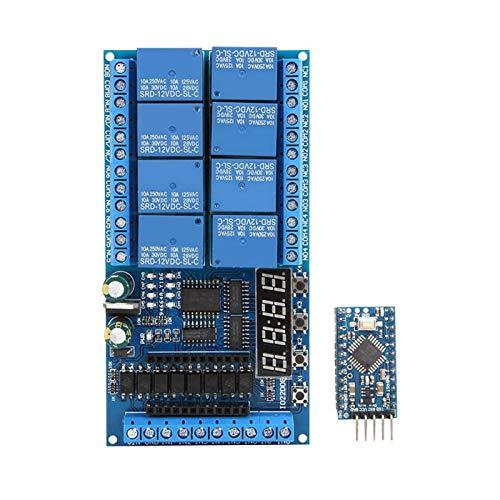 SALUTUYA DC 12V Relaisabschirmungsmodul, 8-Kanal Pro Mini SPS-Relaisabschirmmodul Verzögerungs-Timer-Schalttafel, für Arduino, Timing EIN/AUS(Pro Mini Board)