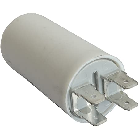 AERZETIX - Condensateur Permanent de Travail pour Moteur - 2.5µF 425V - ⌀28/55mm - à 4 cosses - M8 - Corps en Plastique Cylindrique Blanc - C10229