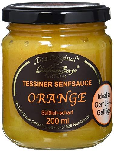 Wolfram Berge Original Tessiner Orangen-Senfsauce- Feinkostsauce aus pürierten kandierten Orangenschalen mit fein-scharfem Senfgeschmack. Hergestellt im Schweizer Tessin. 1er Pack (1 x 200 ml)