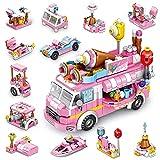TINIBOLT Giocattoli da Costruzione, 553 Pezzi Camion dei Gelati Rosa Giochi Costruzioni per 6 7 8 9 10 11 Anni Bambini Ragazzo e Ragazza