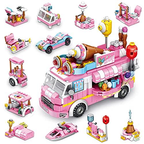 TINIBOLT Bausteine Spielzeug Eiswagen STEM Toy 533 PCS Engineering Bauspielzeug 25-in-1 Creative Bausteine für Kinder im Alter von 6 7 8 9 10 Jahren Mädchen Jungen