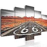 SXMXO Impressions sur Toile 200x100 cm - Art sur Toile - Impression sur Toile - Photo - 5 Pièces - Route 66 Road Landscape Noir Blanc,A,40x60*240x80*240x100*1