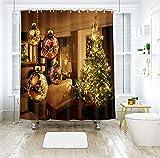 Dreamdge Duschvorhang Gelbgrün 150x180, Duschvorhang Anti-Schimmel Weihnachtsbaum Weihnachtskugeln