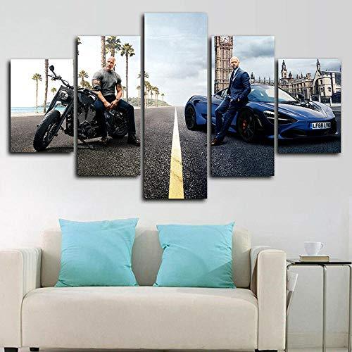 Cuadro sobre Impresión Lienzo 5 Piezas-Mural Moderno Rápidos Y Furiosos Hobbs Y Shaw 5 Piezas,No Tejido Lienzo Impresión Dormitorios Decor El Hogar Modular Poster Mural-Listo para Colgar