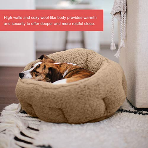 Best Friends by Sheri OrthoComfort Deep Dish Cuddler, Self-Warming Joint-Relief Cat and Dog Bed, Machine Washable, For Pets up to 25 lbs. - (Standard, Beige Sherpa 20x20x12')
