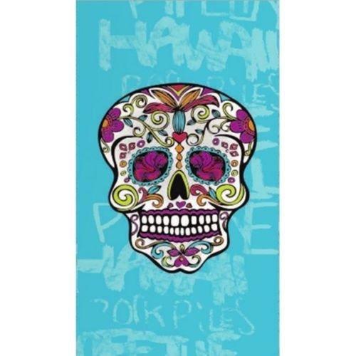 Confort Home M.T (773A Skull Doble Celeste) Toalla DE Playa Gigante 100% ALGODÓN Terciopelo, Tacto Suave, Muy Absorbente Y Secado RÁPIDO (Calavera Celeste, 140_x_180_cm)
