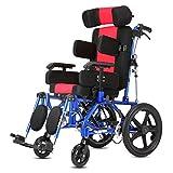 LOLRGV Kinder Rollstuhl Leichte Aluminium Folding Roller Leichte Kleinwagen,Redchild -