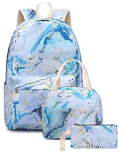 Bluboon, zaino da scuola per ragazze e ragazze, con motivo floreale, borsa portapranzo, astuccio da viaggio, zaino casual (marmo-04 blu)