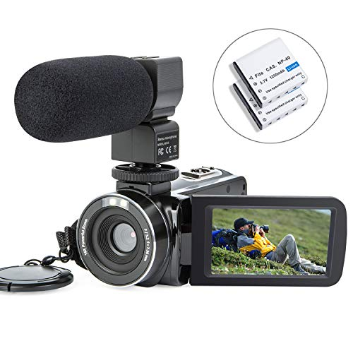 Camcorder Digital Video Camera Recorder Vlogging Camera Camcorder with Microphone YEEHAO 3.0 inch Screen HD 24MP 1080P 30FPS and 2 Batteries(303SM)