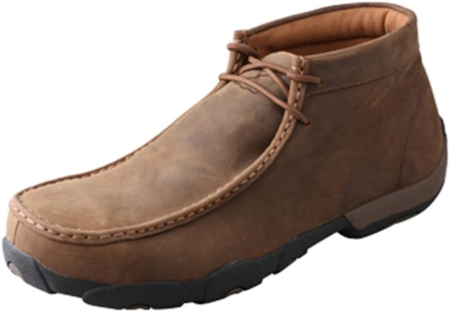Twisted X Men's Leather Lace-Up Rubber Sole Driving Moccasins - Distressed Saddle
