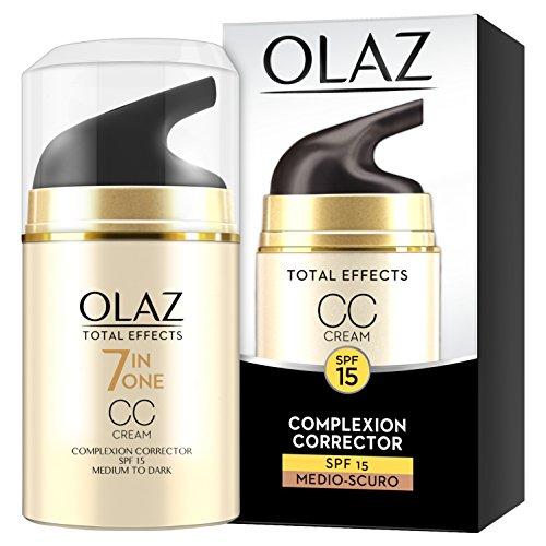 Olaz Total Effects CC Cream, 7 Benefici in 1, Crema Viso Colorata Uniformante Giorno, Idradante e Illuminante, Protezione Solare SPF15, Medio-Scuro - 50 ml