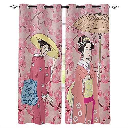 QWFDAQ Cortinas Chica Geisha Japonesa Rosa Amarilla Cortinas Opacas 110cm x215cm x2 Cortina Opaca- Cortinas Salón Opacas, Dormitorio Moderno, Opacas Suaves, con Ojales