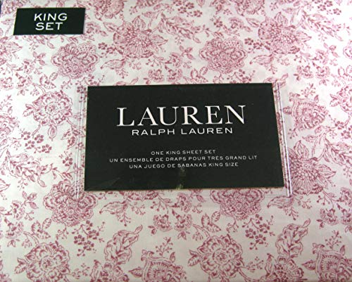 Lauren King Size Floral Sheet Set Cotton 300 Thread Count Magenta Red