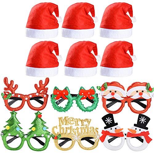 VINFUTUR 6pcs Gafas de Navidad para Disfraz Gafas Fiesta Divertidas+6pcs Gorros Navideños...