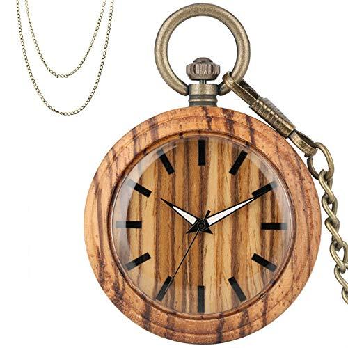 CAIDAI&YL Reloj de bolsillo de cuarzo con caja de madera marrón con colgante simple de bolsillo, collar y reloj de pulsera de bronce steampunk, cadena de suéter, A