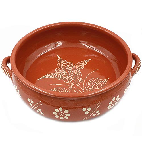 "Traditional Portuguese Hand-painted Vintage Clay Cazuela Terracotta Cooking Pot (N.6 13.75"" Diameter)"