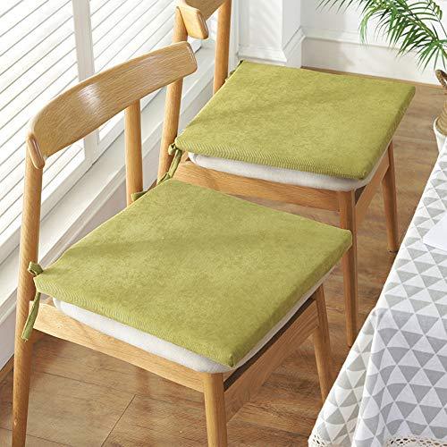 JYAcloth Thicken Chair Pad With Ties,Soft Corduroy Chair Seat Cushion Non Slip Square Chair Cushion Office Home Modern Seat Pad Cushions(Set Of 2)