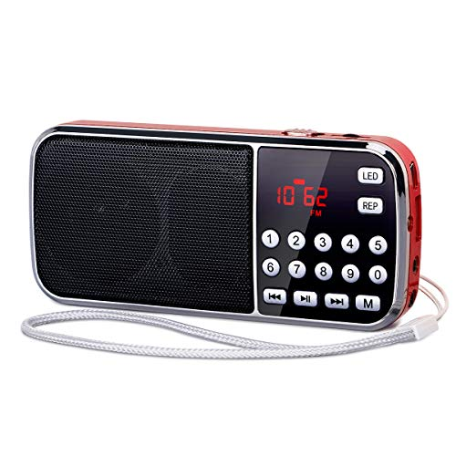 [Actualizado] PRUNUS J-189 Am/FM Radio Portatil Pequeña, Radio Bluetooth con Doble de Altavoces Graves Profundos, Reproductor de TF/USB/AUX / MP3, Linterna LED, con Pilas Recargables (Rojo)