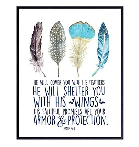 Psalm 91 - He Will Cover You With His Feathers Wall Art - Christian Bible Verse Religious Scripture Wall Decor - Inspirational Gift for Women, Girls - Spiritual Home Decoration for Bedroom - Blue
