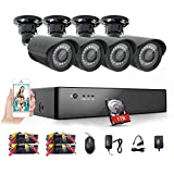 Rraycom 8CH 1080P HD-TVI Security Camera System DVR with 4PC HD 2000TVL 1.0MP Home/Outdoor Weatherproof Security Camera,1TB Hard Drive,115ft Night Vision, Remote Access, Motion Alerts