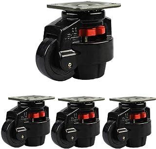 LYQQQQ Zware Castor X4Retractable Leveling Machine Casters met vaste plaat Slijtvaste Mute wielen Heavy Duty (Kleur: Zwar...