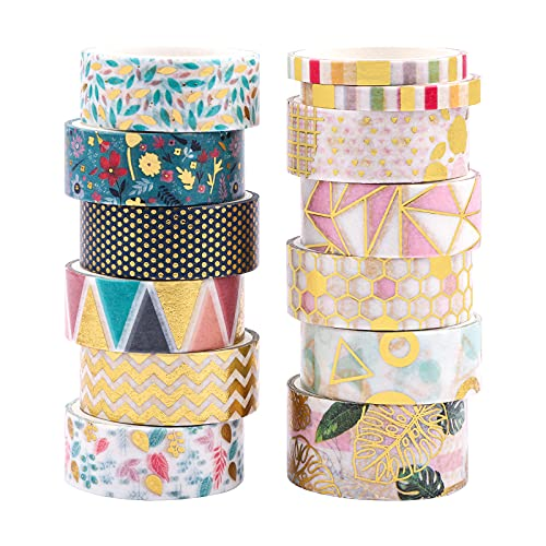 Washi Tape,13 rotoli Washi Tape Set Nastro decorativo Washi Nastro adesivo con fiori in lamina d