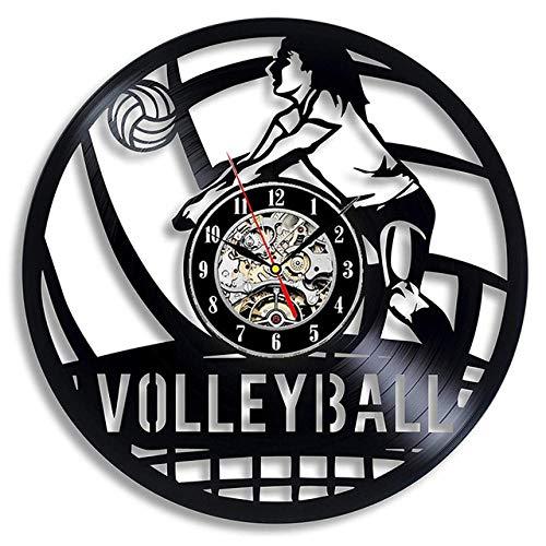 SKYTY Reloj de pared de vinilo para jugadores de voleibol, disco de vinilo, 3D, para amantes de voleibol, decoración del hogar, 3 luces LED de 30 cm