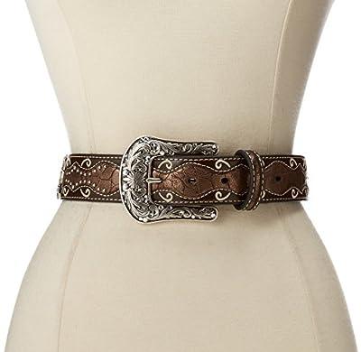 Ariat Women's Studded Cross Inlay Belt Brown X-Large
