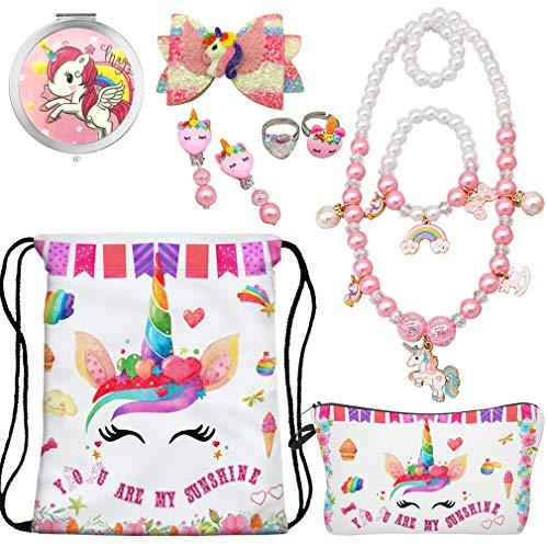 RLGPBON Gifts for Girls Unicorn Drawstring Backpack,Makeup Bag,Unicorn Jewely Necklace Bracelet for Kids