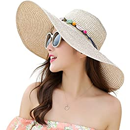 Lanzom Womens Wide Brim Straw Hat Floppy Foldable Roll up Cap Beach Sun...