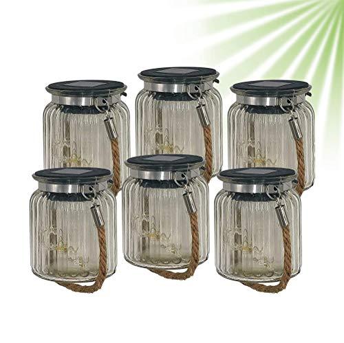 ISOTRONIC LED Solarlampe (6er Set) Solarleuchte/Solar Laterne, Hängeleuchte für Garten, Balkon und Außen – 10 LEDs pro Lampe – Einmachglas/Vorratsglas Deko für Party, Fest, Hochzeit