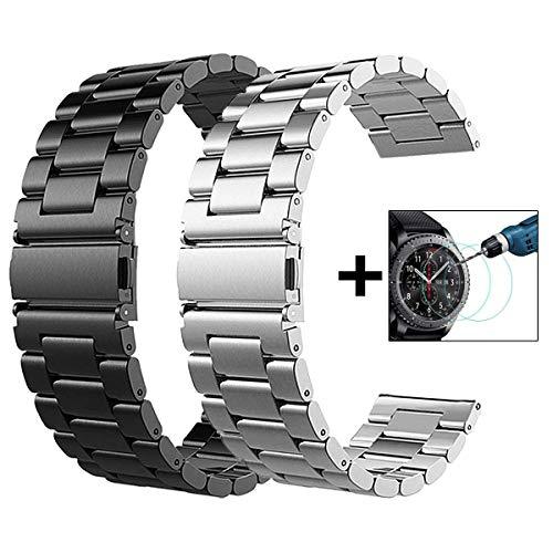 Galaxy Watch 46mm/Gear S3 Frontier/Classic Watch Armband, VIGOSS 22mm Silber voll magnetischer Mailänder Edelstahl Armband Uhrenarmband für Samsung Gear S3 Watch (Metall Schwarz + Metall Silber)