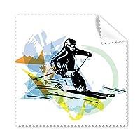 冬のスポーツアスリート同期 スキー スポーツ フリースタイル スキー 水彩 スケッチ イラスト メガネ クロス クリーニング 布 スマホ スクリーン クリーナー 5個