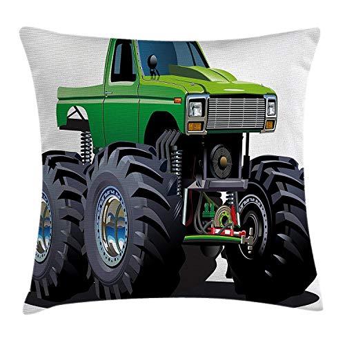 Dutars - Funda de cojín decorativa para coche, diseño de monstruo gigante con neumáticos grandes y suspensión, impresión de rueda extrema, funda de almohada decorativa cuadrada, 45,7 x 45,7 cm, color verde gris