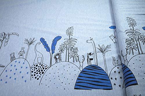 mollipolli-Stoffe Jersey Panel Panel Bordüre Zootiere Spielen verstecken auf hellblau meliert by Stenzo Baumwoll Jersey 1 Stück