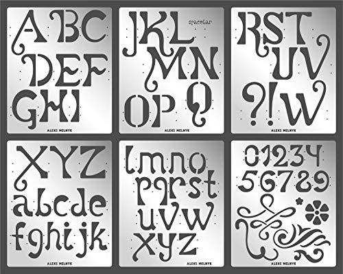 Aleks Melnyk #76 Schablone/Metall Stencil Vorlagen for Painting/Buchstaben, Zahlen, Alphabet - 5,1 cm/6 Stück/DIY Kunst Projekte/Stencil für Scrapbooking und Zeichnen/Brandmalerei Schablone/Basteln
