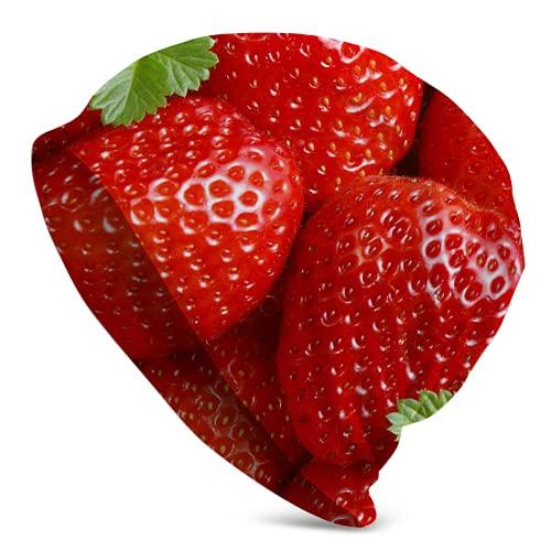Fodmua Lustige, süße rote Strawberry83 Slouchy Beanie für Männer/Frauen – dehnbare Hip-Hop-Totenkopf-Mütze