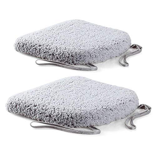 Yxxc Cotton Weave 2-teiliges Stuhlkissen, Mesh-Sitzkissen Memory Foam-Kissen Weicher Baumwollsamt Abnehmbar mit Reißverschluss Für Balkonauto Bürograuer Baumwollsamt