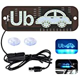 Ride Share LED Sign Decor, Car Lighted Window Decor Lighter Flashing Hook with Suction Cup & DC12V Car USB Charger Inverter, Make Your Car Visible (Ice Blue)