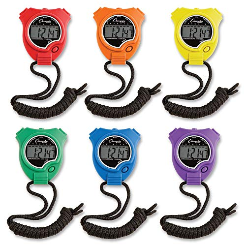 Champion Sports 910SET Stopwatch Timer Set, Waterproof HandHeld Digital Clock Sport Stopwatches, 6 Pack