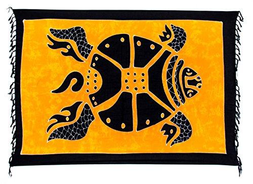 Kascha Sarong Pareo Wickelrock Strandtuch Tuch Wickeltuch Handtuch - Blickdicht - ca. 170cm x 110cm - Orange Schwarz Batik mit Schildkröte Motiv Handgefertigt inkl. Kokos Schnalle in Rauteform