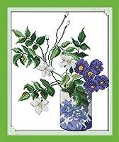 クロスステッチ 紫の花 初心者の子供と大人のための事前に印刷されたパターンカウント刺繡スターターキット(11Ct)40X50Cm