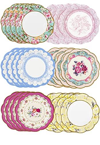 Talking Tables - Set di 24 piatti di carta vintage con bordo smerlato, stoviglie usa e getta, ideali per compleanni o feste in giardino, tè pomeridiano, baby shower, matrimoni, multicolore